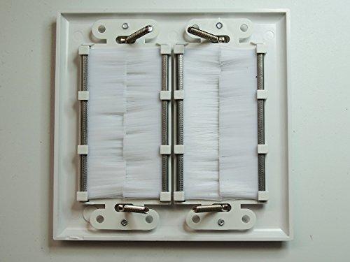 Riteav Dual Gang Wall Plate With Brush Bristles White