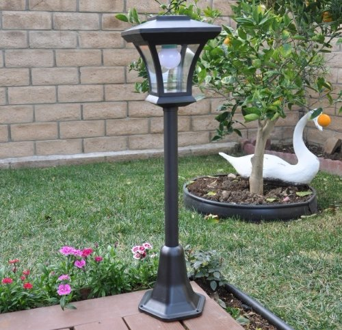 Outdoor Lamp Post Amazon: Solar Charged LED Lamp Post Decorative Yard Light With 3