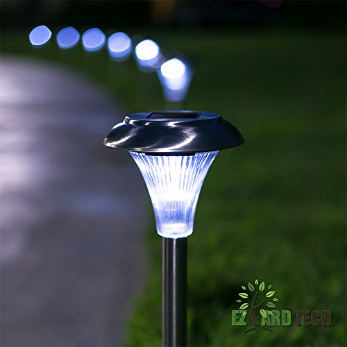 solar powered path lights set of 10 outdoor garden and lawn led lights 6 lumens of brightness. Black Bedroom Furniture Sets. Home Design Ideas