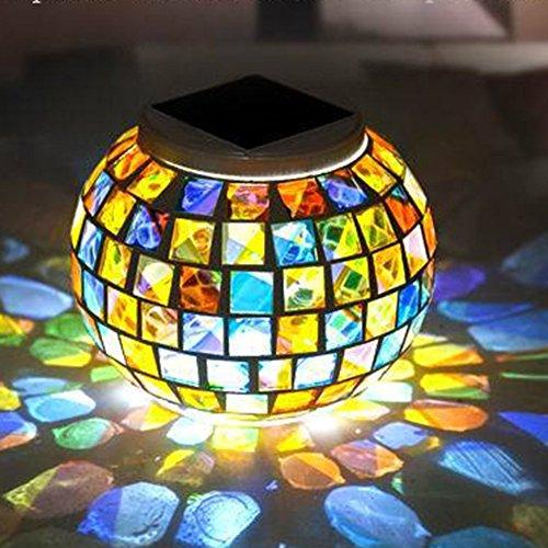 Xjamus Solar Table Lights Mosaic Glass Solar Led Garden