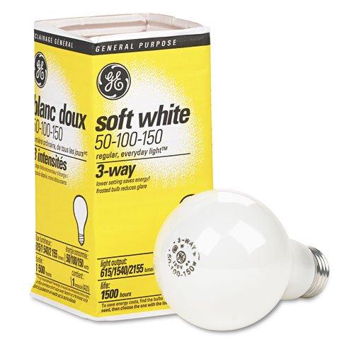 GE Soft White Three-Way Incandescent Bulb, 50/100/150 watts