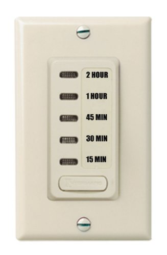 Intermatic EI235LA 15/30/45/60/120 Minute SPST 1800-Watt Electronic In-Wall Countdown Timer, Light Almond