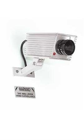 "Surveillance Cameras – Simulated.• Mini Simulated Surveillance Camera • Requires 2 Aa Batteries (Not Included) • Mounting Bracket Included • Indoor/outdoor Use . Mini Simulated Video Surveillance Camera with Red LED Fits Anywhere. Complete with Mount, Blinking Red, LED Light & 2 ""Warning! This Area Under Video Surveillance"" Silver Metallic Plaques. Also Features Indoor/outdoor Metal Housing with Mounting Hardware. Light Requires 2-aa Batteries (Not Included). SSW Itemno 18-242"
