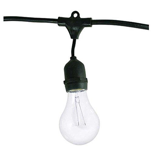 Bulbrite String15/E26-A19KT Nostalgic Edison Outdoor String Light with Vintage Edison Bulbs, 48-Feet, 15 Lights, Black