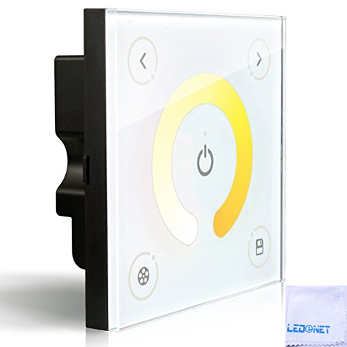 LEDENET® D2 Wall-mounted Touch Panel Color Temperature Changing Adjustable Dimmer Controller Bi-colored WW/CW Dual White LED Strip 12-24V 8A + Microfibre Cleaning Cloth (5 Year Warranty)