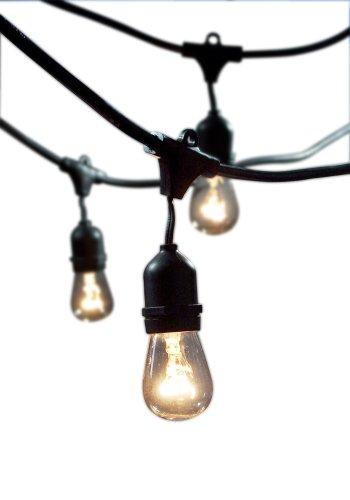 Bulbrite STRING15/E26-S14KT Outdoor String Light w/Incandescent 11S14 Bulbs, 48-Feet, 15 Lights