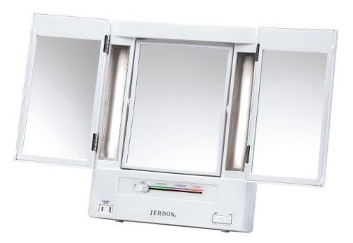 Jerdon JGL9W Tri-Fold Lighted Mirror with 5x Magnification, 4-Light Settings, White Finish