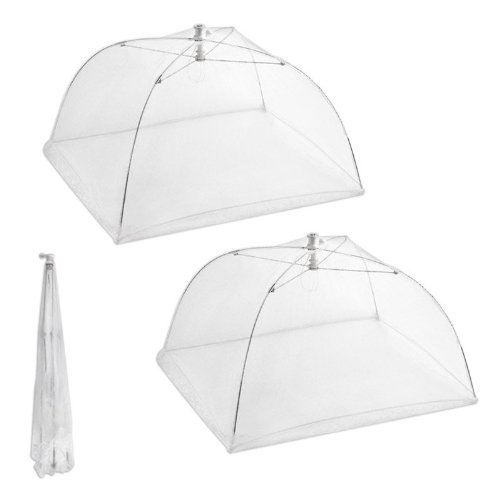 Set of 2 Large Pop-Up Mesh Screen Food Cover Tents – Keep Out Flies, Bugs, Mosquitos – Reusable – Colors May Vary