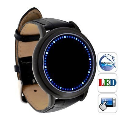 Flylinktech® Blue LED Touch Screen Watch Soft Leather Wirst watch
