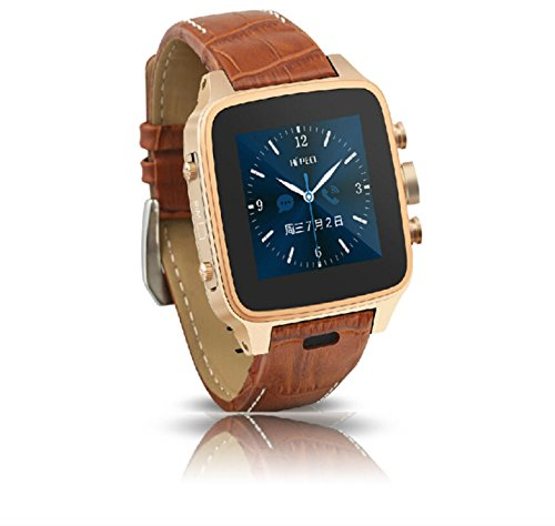 316L Stainless Steel 3G Android Smart Watch Android 4.22 MT6572 Dual Cord CPU 1.2G Bluetooth (BT)2.1+EDR Wifi 1.54″ Touch Screen Leather Band Smartatch Phone(Brown/Gold)