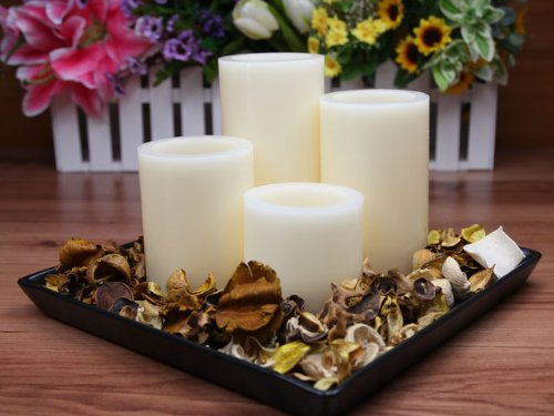 Flameless Candles; LED Candles with Remote Control, Pillar Real Wax Candles, 3-inch, 4-inch, 5-inch and 6-inch Candles Set of 4 (ROUND EDGE) Reviews
