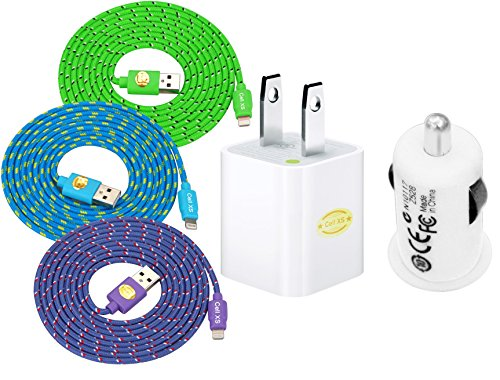 6 Ft Top Quality Wall Travel Charger Car Charger + Nylon Cloth Jacketed Tangle-Free USB 2.0 to 8 Pin Apple Lightning Cable for iPhone 6, 6Plus, 5, 5c ,5s, iPad 4, iPad mini, iPod nano 7, iPod 5G (green.purple.blue)