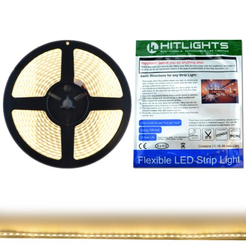 HitLights Waterproof Warm White High Density SMD3528 LED Light Strip – 600 LEDs, 16.4 Ft Roll, Cut to length – 3000K, 164 Lumens / 3 Watts per foot, IP67, Requires 12V DC