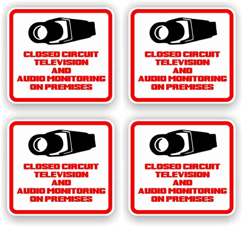 Security Decal – #205 4 Pack Video & Audio Cctv Security Surveillance Camera System Warning Decals Stickers – Commercial Grade . Increase Security Whether You Have a System or Not, No One Will Know but You!