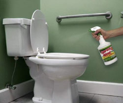 Spray Nine cleaner and disinfectant used in the bathroom