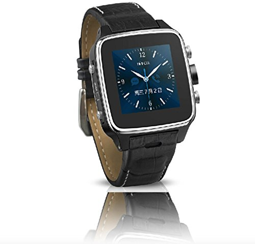 316L Stainless Steel 3G Android Smart Watch Android 4.22 MT6572 Dual Cord CPU 1.2G Bluetooth (BT)2.1+EDR Wifi 1.54″ Touch Screen Leather Band Smartatch Phone(Black/Silver)