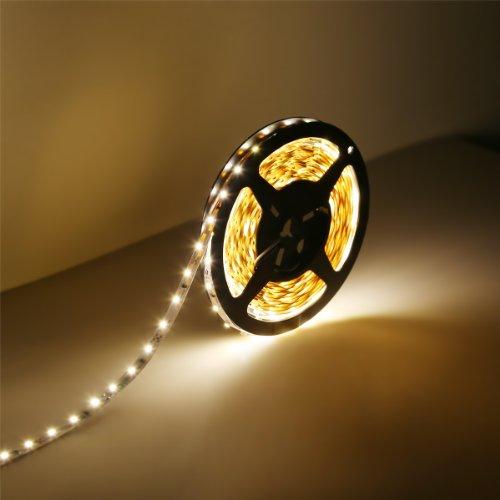 LE Lampux 12V Flexible LED Strip Lights, LED Tape, Warm White, 300 Units 3528 LEDs, Non-waterproof, Light Strips, Pack of 16.4ft/5m