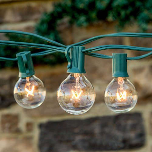 Brightech™ – AMBIENCE – Outdoor String Lights with 25 G40 Clear Globe Bulbs – Commercial Quality – UL Listed – Indoor and Outdoor Use – Natural Warm White Light – Use To Create The Warm Friendly Ambiance of a Wine Country Bistro or Summer Festival – With Frustration Free Eco Packaging