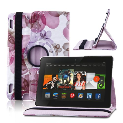 TOPCHANNCES 360 Degrees Rotating Stand Stylish Lucky Flowers Case for Kindle Fire HDX 7 inch with Smart Cover Wake/Sleep Function – Pink