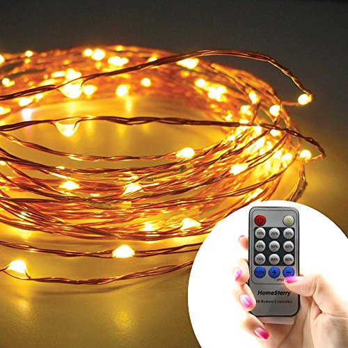 Homestarry® String lights PRO/ 33Ft /100 LED's Warm White/Copper Wire/ Remote Control Dimmer/ Perfect for Indoor and Outdoor Environments — Remote Control Feature Easily Regulates Your Lighting – Decor Light – 100% Satisfaction Guarantee.