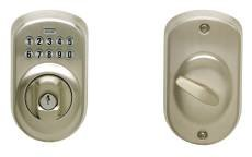 Schlage U021834 Schlage Keypad Deadbolt Plymouth Adj Bs Sc1 Satin Nickel