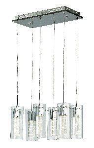 Trans Globe MDN-1205 18″ LED Cube Pendant, Polished Chrome Finish with Clear/Etched Glass