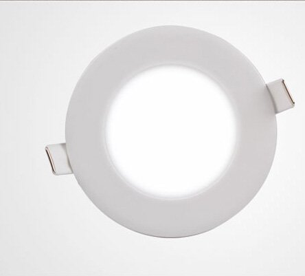 HS (TM) Round Lumens Dimmable Ultra-thin Led Glasses Recessed Flat Ceiling Panel Downlights Lamps (Cool White 6000-6500K, 12W)