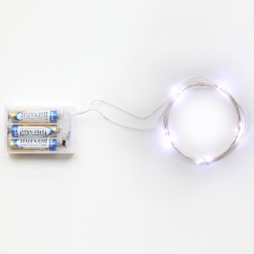 Rtgs Micro LED 20 Super Bright Cold White Color Lights Battery Operated on 7.5 Ft Long Silver Color Ultra Thin String Wire [NEWEST VERSION] + 100% RTGS Products Satisfaction Guarantee