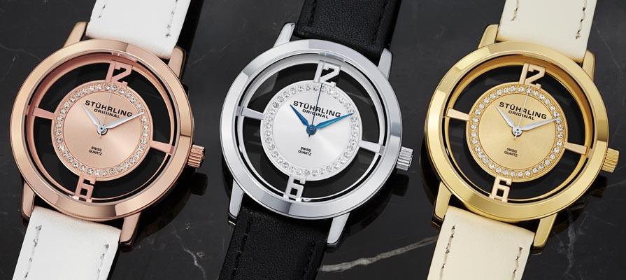 Stuhrling Original Women's Winchester Tiara Transparent Dial Strap Set Watches