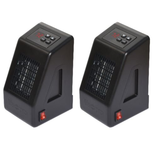 2-Pc LifePro LS-LZHT1023US Black LifeSmart 400-Watt Micro-Sized Plug-In Heater w Cool Touch Cabinet