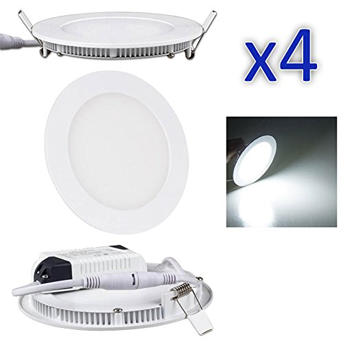 6.5-Inch Recess 12 Watt LED Flat Ceiling Light with LED Driver and 920 Lumen Super bright, Cool White 5700K – 6500K (4 Pack)