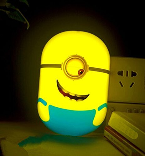 Nichome® 3D Intelligent light-control sensor Minions Wallpaper Wall Stickers Plug-in Night Lamp for Home Decoration, Bedroom, Living Room, Children's room (one eye)