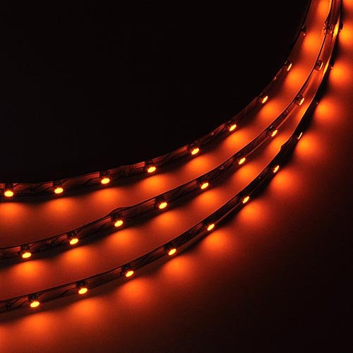 LEDwholesalers 16.4 Feet (5 Meter) Flexible LED Light Strip with 300xSMD3528 and Adhesive Back, 12 Volt, Amber/Yellow, 2026YL