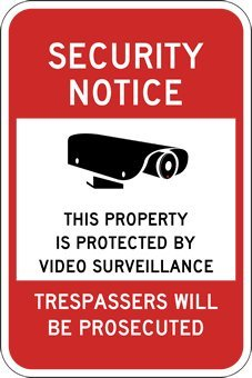 (Package of 3) Window Decals – Property Protected By Video Sureveillance – 6×8