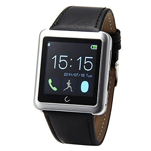 1.54″ Touch Screen Waterproof Bluetooth Smart Watch Leather Strap UWatch Handfree Sync Phone Call SMS APP Notification with E-compass Pedometer Anti-lost Sleep Monitoring for Android Cellphones (Silver)