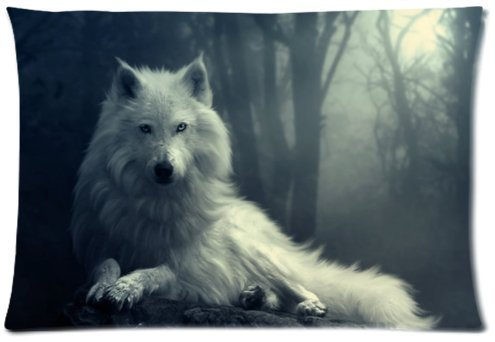 Outlet-Seller Custom zipper Brave Wolf Pillowcase Covers Standard Size 20″x30″(One Side)