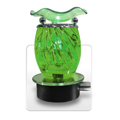 Decorative Glass Swirl Electric Plug-in Oil and Candle Warmer (Green) Reviews