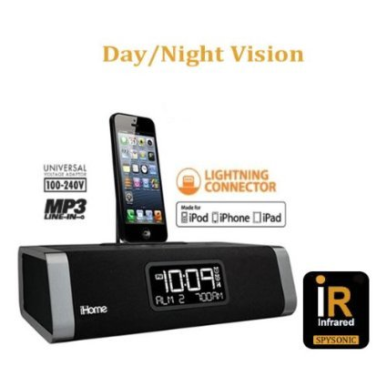 **TRUE NIGHTVISION** SecuredEye iHome Iphone & Ipad Docking Clock Radio Wireless WiFi IP Hidden Spy Surveillance Nanny Cam With Live View And Built In DVR