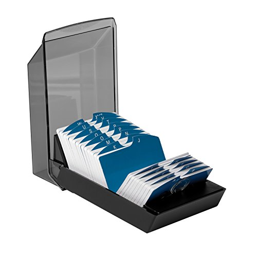 Rolodex 67011 Rolodex Covered Business Card File, 500 2-1/4×4 Cards, 24 A-Z Guides, Black