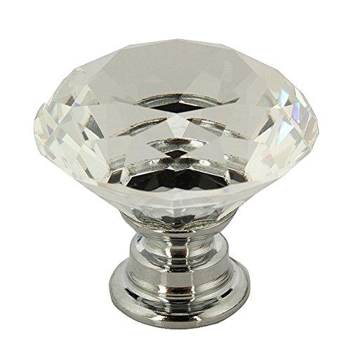10pcs 30mm Diamond Crystal Glass Kitchen Bedroom Toliet Door Cabinet Drawer Handle Knob Screw