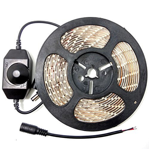 eTopxizu 16.4ft /5M Waterproof DC 12V Flexible 3528 Cool White 300 LED Strip Light Kit With Lamp Light Modulator Dimmer Switch Dimming and led DC Connector Cable Plug Reviews