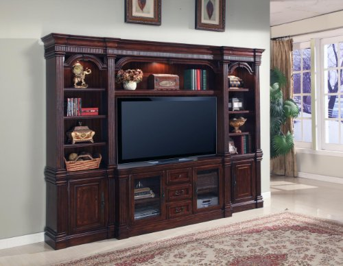 Parker House, Wellington Estate Wall Entertainment Center 4pcs.(Includes Bridge , Shelf, Left Pier , Bridge Backpanel, 61 3/4″, T.V. console & Right Pier)