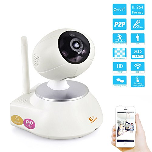 Evoplus Walle Intelligent Digital P2p Webcam 104 Degree Angle H.264 Megapixel 720p P2p Hd Mini Wireless Wifi Ip Ir 10m Night Vision Internet Surveillance Network Camera Home Remote Monitoring Cctv Security Audio/video Motion Detection Alarm / Baby Monitor / Pets Camera / Support Scan Qr Code Quick View Gravity Sensing Easy Iphone Android Mobile Phone Cellphone Ipad Pc View Setup with Audio / Build-in Microphone & Speaker Shoot Cam Camcorder for Home