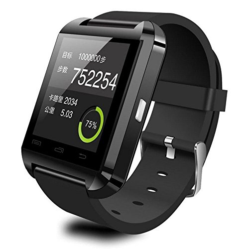 U8 Waterproof Smart Watch Phone Mate With Sync/Bluetooth 3.0/Anti-lost Alarm for Apple iphone 4/4S/5/5C/5S Android Samsung S2/S3/S4/Note 2/Note 3 HTC Sony Color Black Reviews