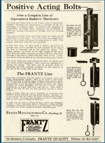 1927 AD FOR FRANTZ POSITIVE ACTING DOOR DEADBOLTS Original Paper Ephemera Authentic Vintage Print Magazine Ad / Article Reviews