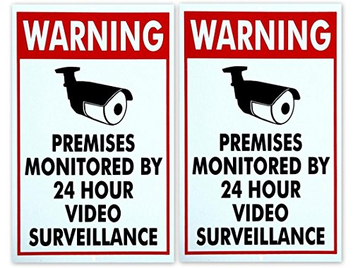 2pcs Warning Premises Monitored by 24 hours Video Surveillance Security Cameras Home Signs