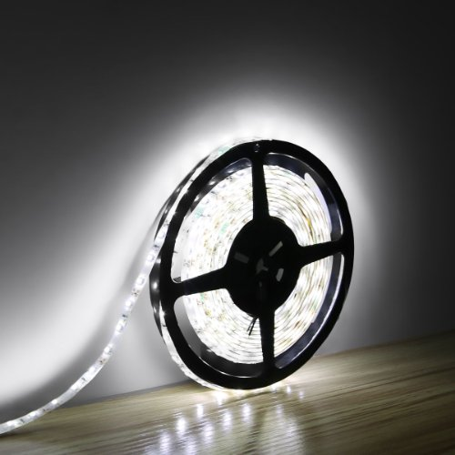 LE Lampux 12V Flexible LED Strip Lights, LED Tape, Daylight White, Waterproof, 300 Units 3528 LEDs, Light Strips, 16.4ft/5m