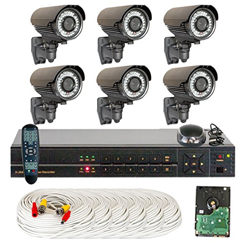 8 Channel (6) Varifocal Zoom 700 TVL Security Camera 1TB DVR Surveillance System – Vandal proof & Water proof 42pcs IR LED 131 ft IR Night Vision For Ourdoor / Indoor Use Reviews