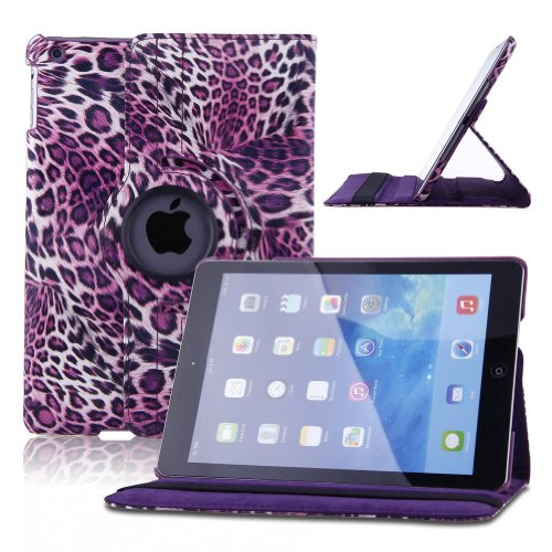 ELEOPTION(TM) New Map Zebra Embossed Flower Polk Dot Luck Grid Leather Pattern 360 Degree Rotating Smart Case Cover for Apple iPad Air Gen Generation – (Supports Auto Wake/Sleep Function) With Free Stylus-Purple
