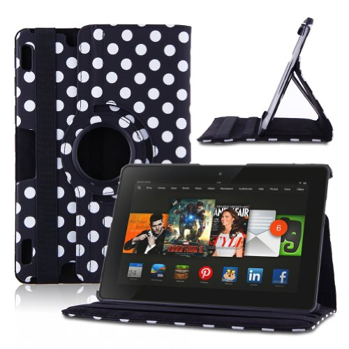 URPOWER 360 Degrees Rotating Stand Polka Dot Pattern Case and Cover for 2013 Kindle Fire HDX 8.9 Inch with Smart Cover Wake/Sleep Function and Stylus – Black Reviews